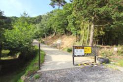 火口見学の登り口(火口まで徒歩5分)