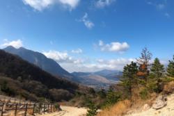 火口付近から見える景色(左側の山は由布岳)